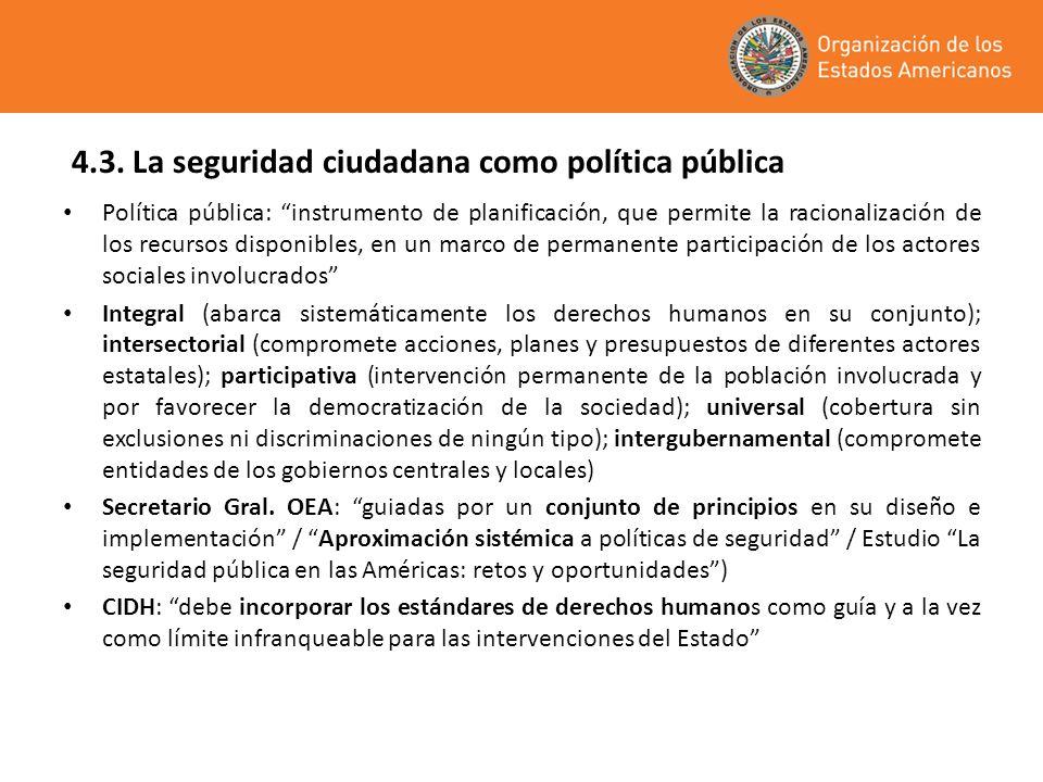 4.3. La seguridad ciudadana como política pública