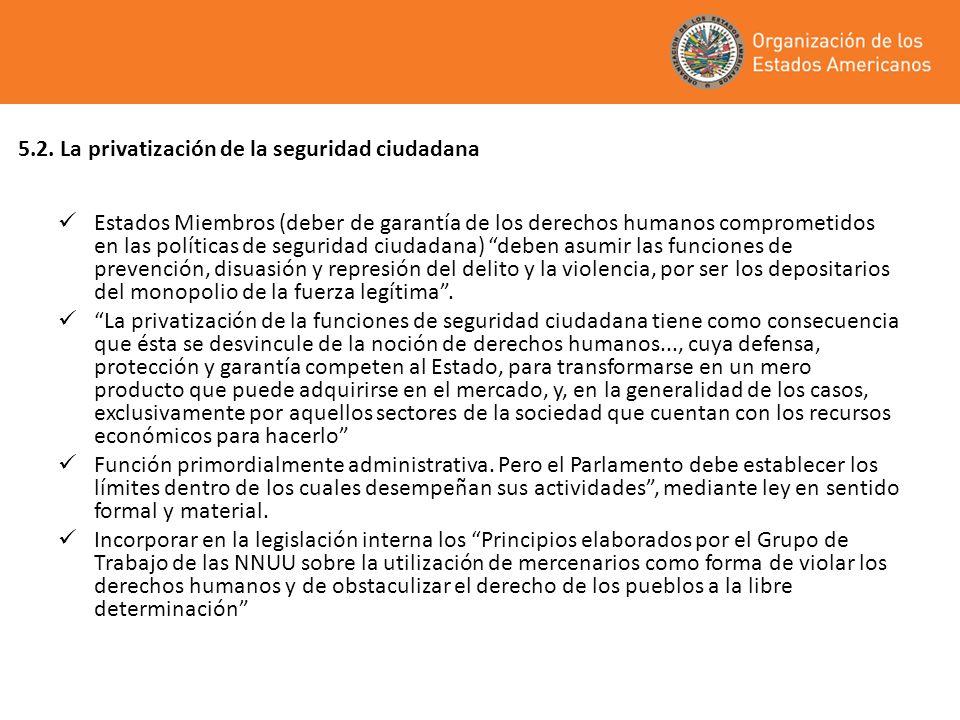 5.2. La privatización de la seguridad ciudadana