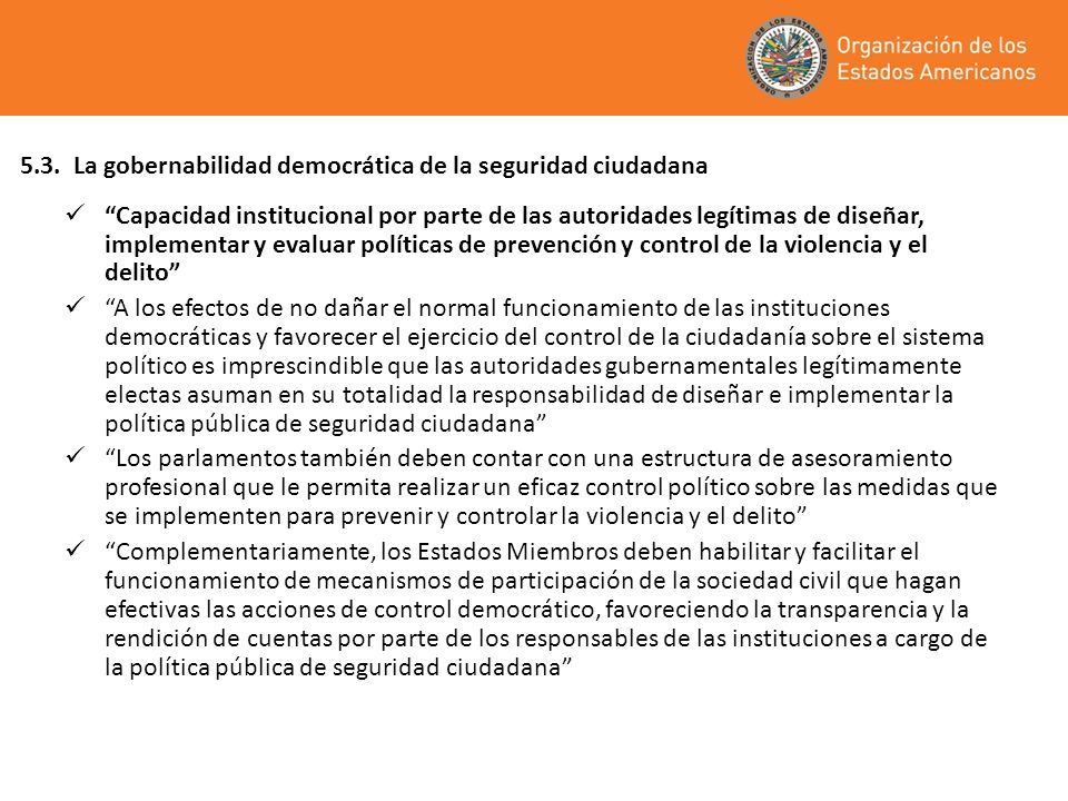 5.3. La gobernabilidad democrática de la seguridad ciudadana
