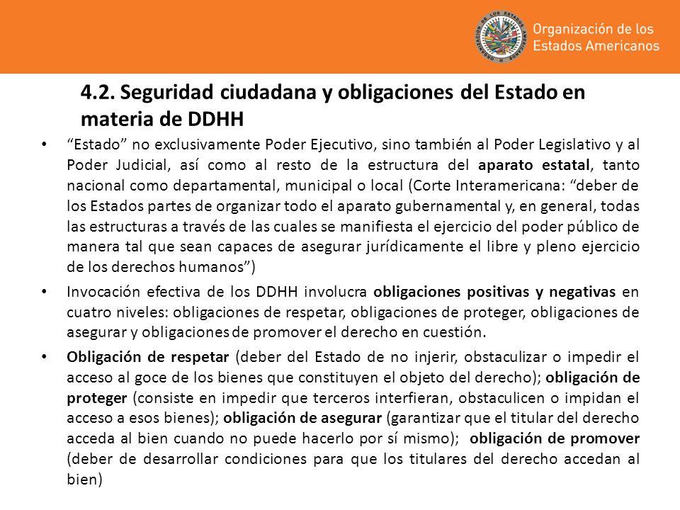 4.2. Seguridad ciudadana y obligaciones del Estado en materia de DDHH