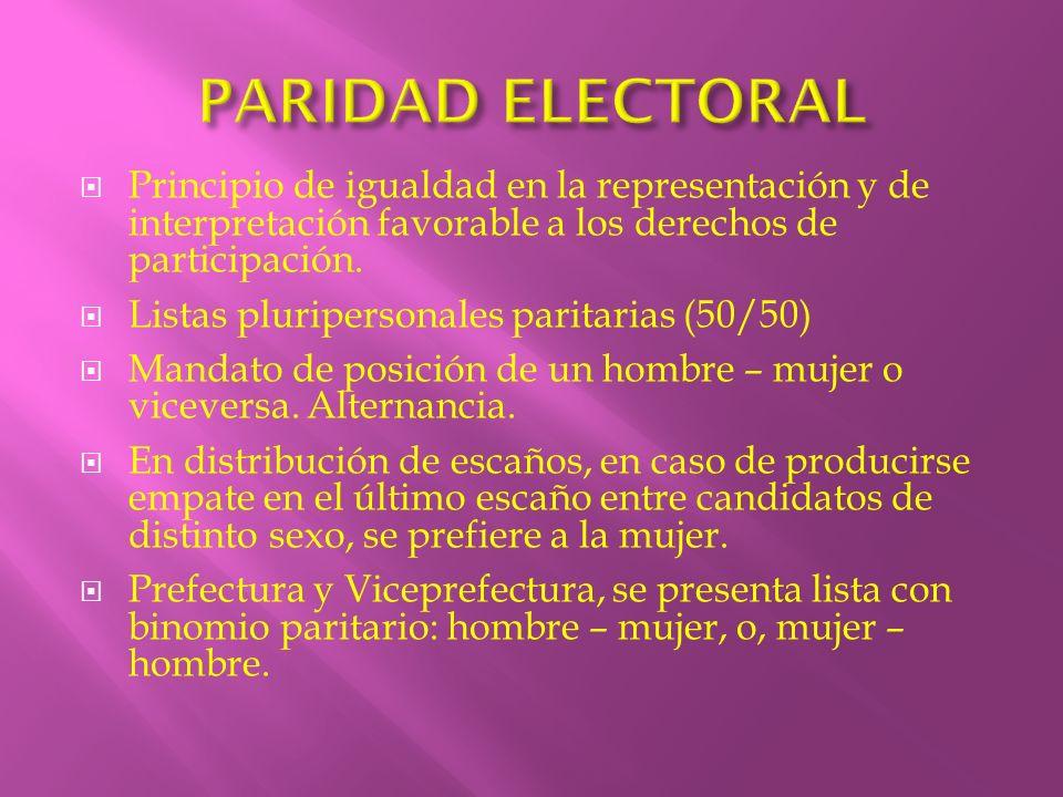 PARIDAD ELECTORAL Principio de igualdad en la representación y de interpretación favorable a los derechos de participación.