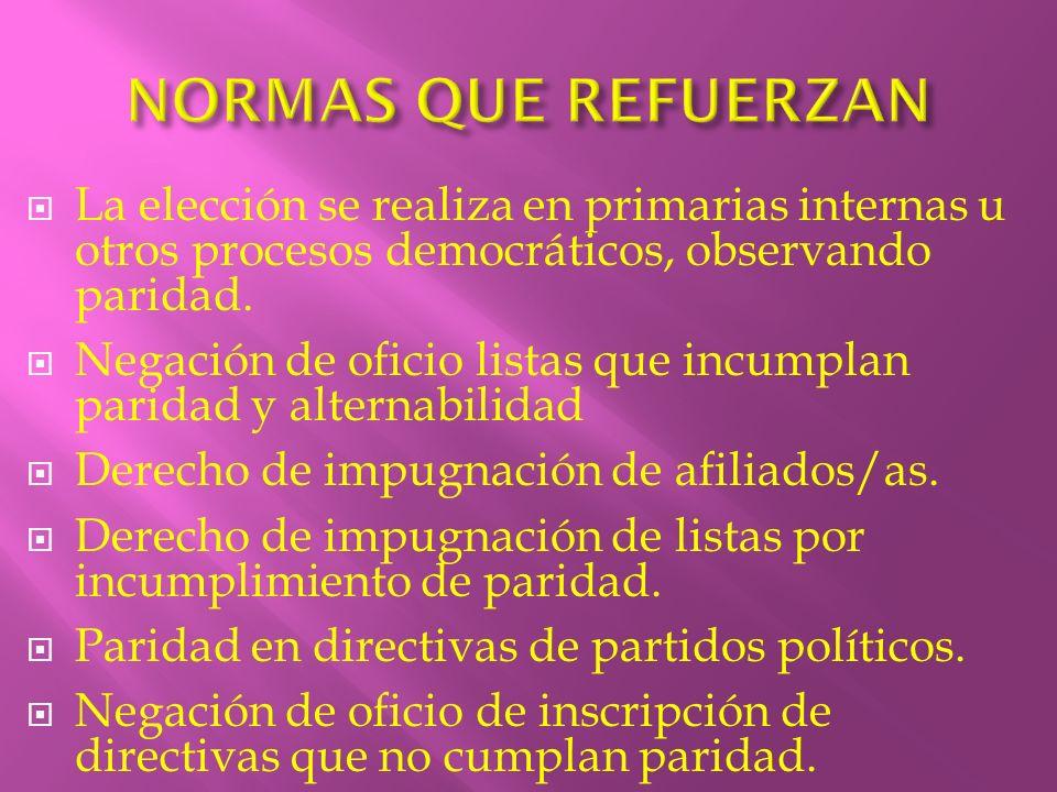 NORMAS QUE REFUERZAN La elección se realiza en primarias internas u otros procesos democráticos, observando paridad.