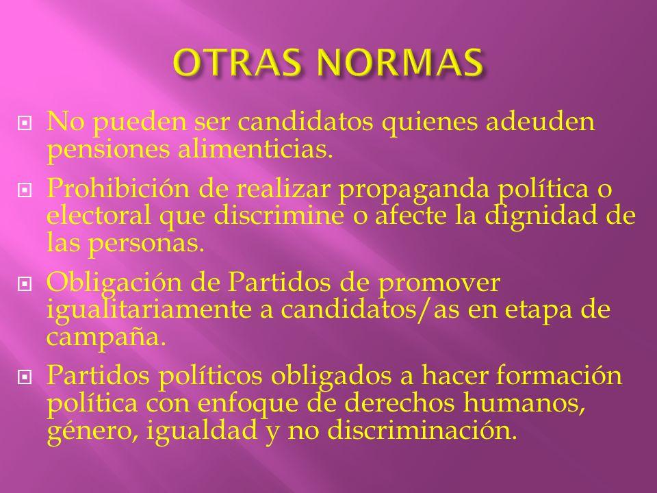 OTRAS NORMAS No pueden ser candidatos quienes adeuden pensiones alimenticias.