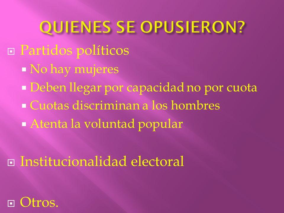 QUIENES SE OPUSIERON Partidos políticos Institucionalidad electoral
