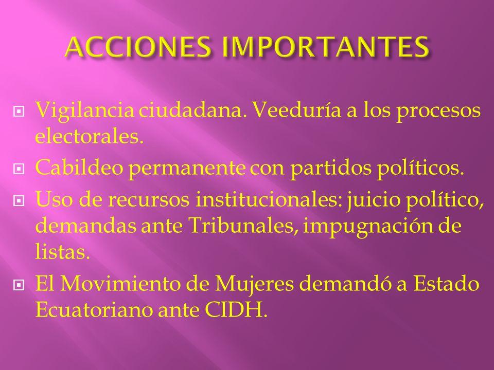 ACCIONES IMPORTANTES Vigilancia ciudadana. Veeduría a los procesos electorales. Cabildeo permanente con partidos políticos.