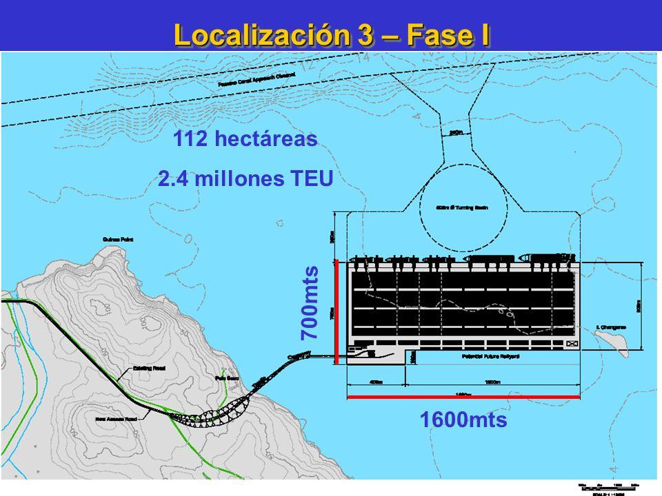 Localización 3 – Fase I 112 hectáreas 2.4 millones TEU 700mts 1600mts