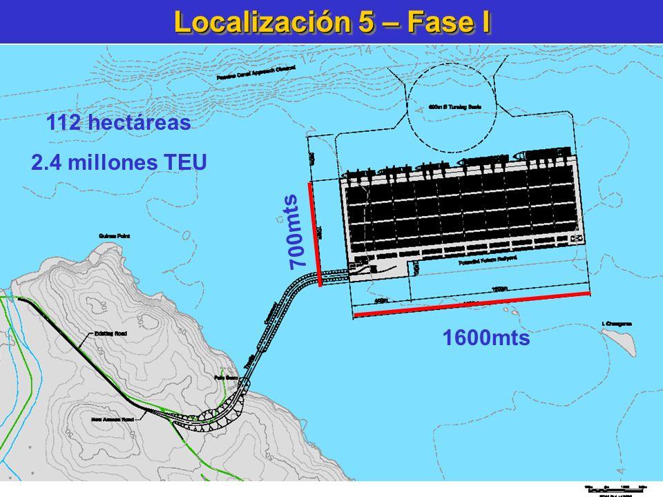 Localización 5 – Fase I 112 hectáreas 2.4 millones TEU 700mts 1600mts