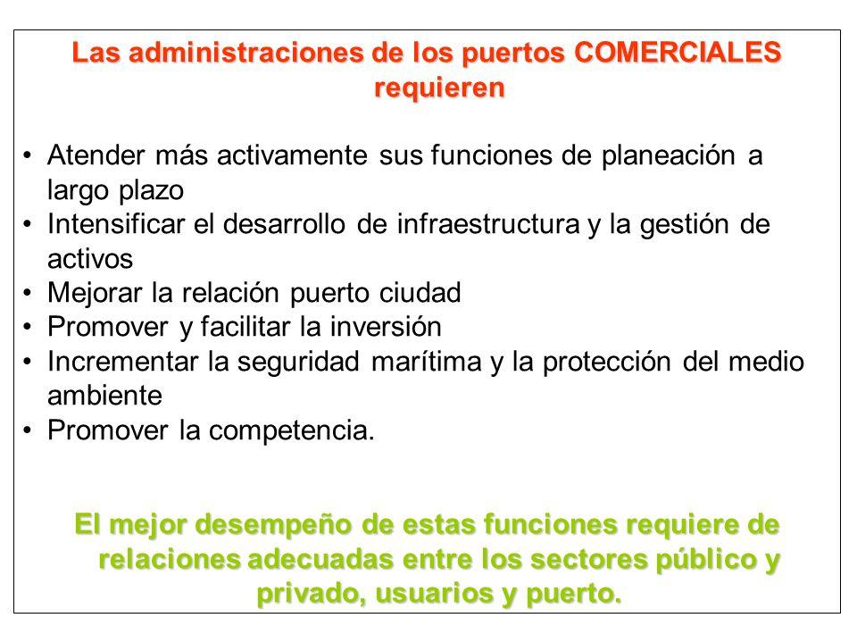 Las administraciones de los puertos COMERCIALES requieren