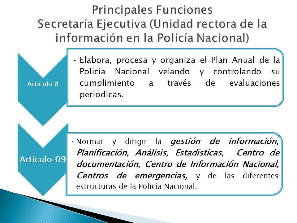 Principales Funciones Secretaría Ejecutiva (Unidad rectora de la información en la Policía Nacional)