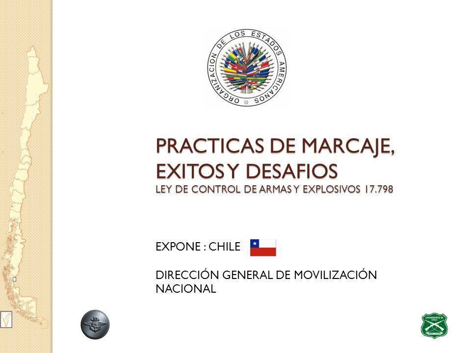 PRACTICAS DE MARCAJE, EXITOS Y DESAFIOS LEY DE CONTROL DE ARMAS Y EXPLOSIVOS 17.798 EXPONE : CHILE DIRECCIÓN GENERAL DE MOVILIZACIÓN NACIONAL