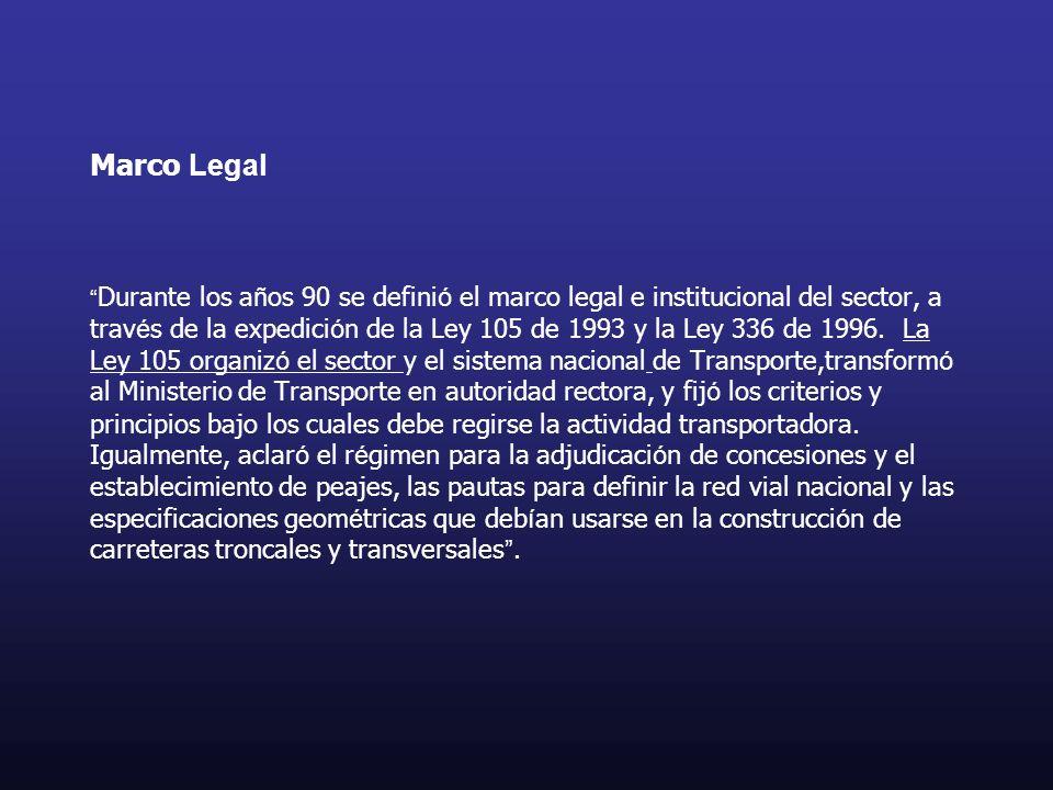 Marco Legal Durante los años 90 se definió el marco legal e institucional del sector, a través de la expedición de la Ley 105 de 1993 y la Ley 336 de 1996.