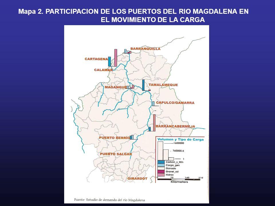 Mapa 2. PARTICIPACION DE LOS PUERTOS DEL RIO MAGDALENA EN
