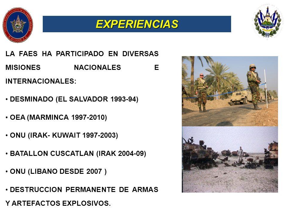 EXPERIENCIAS LA FAES HA PARTICIPADO EN DIVERSAS MISIONES NACIONALES E INTERNACIONALES: DESMINADO (EL SALVADOR 1993-94)