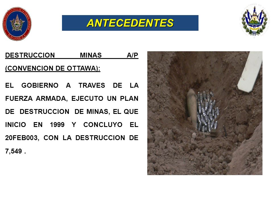 ANTECEDENTES DESTRUCCION MINAS A/P (CONVENCION DE OTTAWA):
