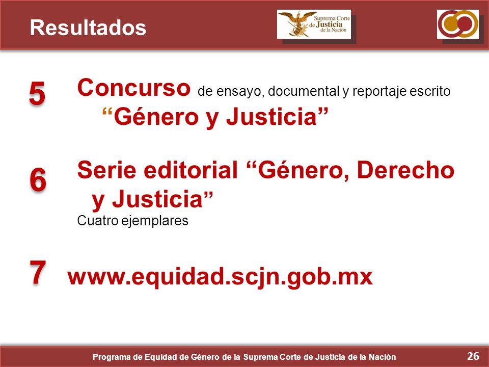 ResultadosConcurso de ensayo, documental y reportaje escrito Género y Justicia 5. Serie editorial Género, Derecho y Justicia
