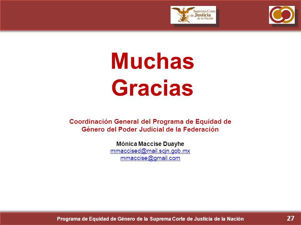 Muchas Gracias Coordinación General del Programa de Equidad de Género del Poder Judicial de la Federación.
