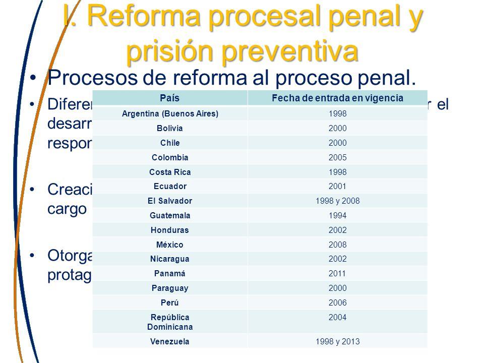 I. Reforma procesal penal y prisión preventiva