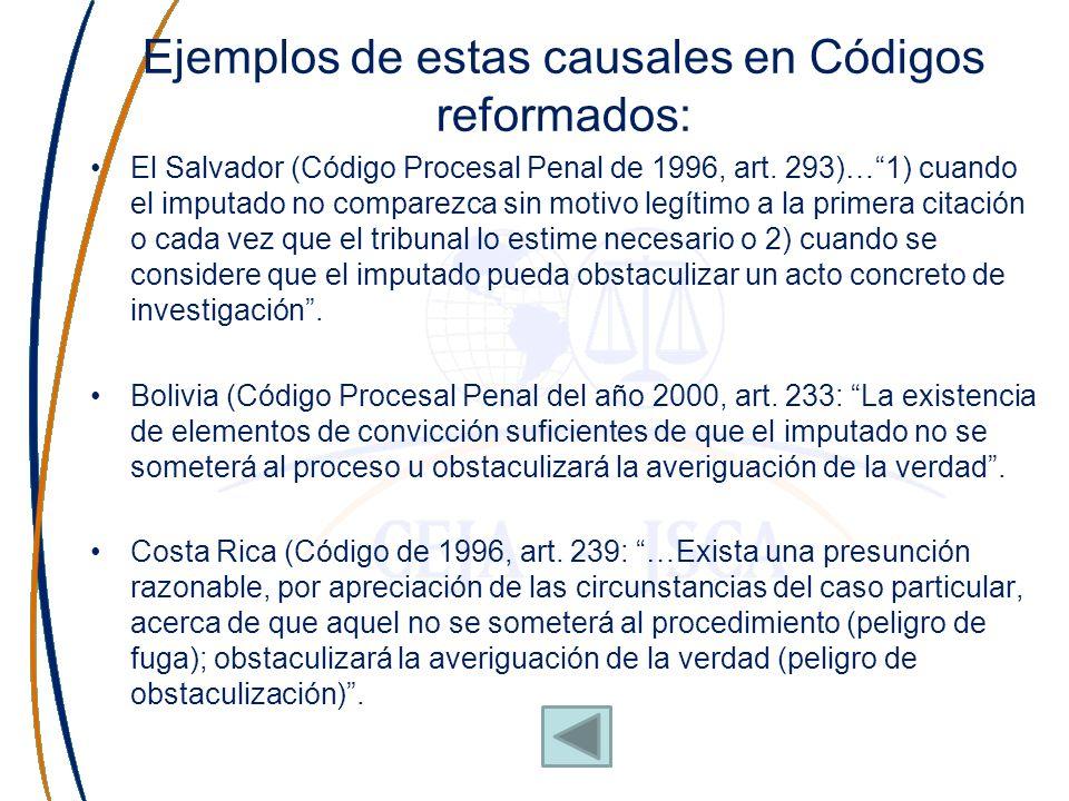 Ejemplos de estas causales en Códigos reformados: