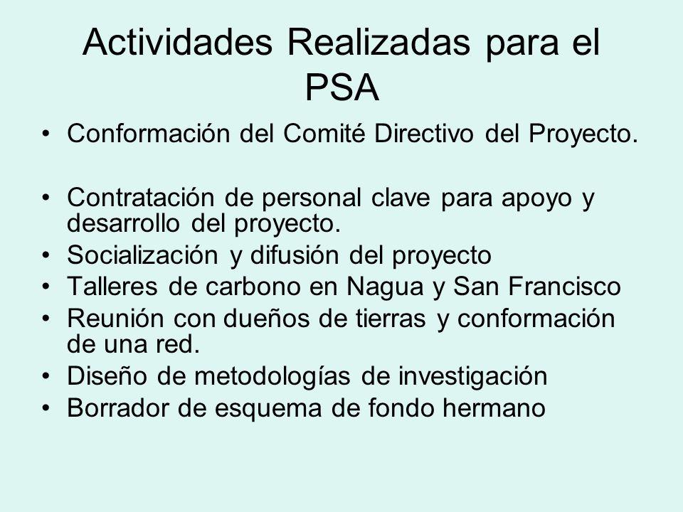 Actividades Realizadas para el PSA