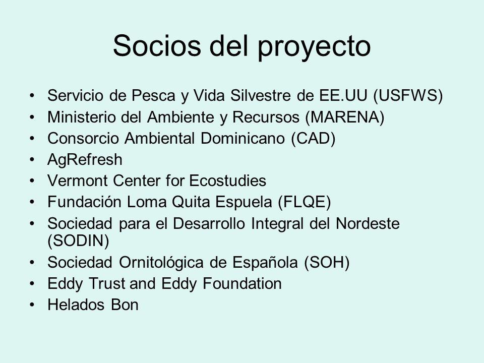 Socios del proyecto Servicio de Pesca y Vida Silvestre de EE.UU (USFWS) Ministerio del Ambiente y Recursos (MARENA)