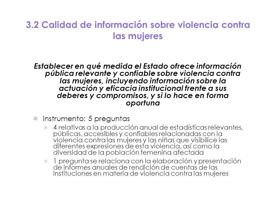 3.2 Calidad de información sobre violencia contra las mujeres