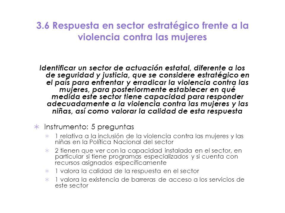 3.6 Respuesta en sector estratégico frente a la violencia contra las mujeres
