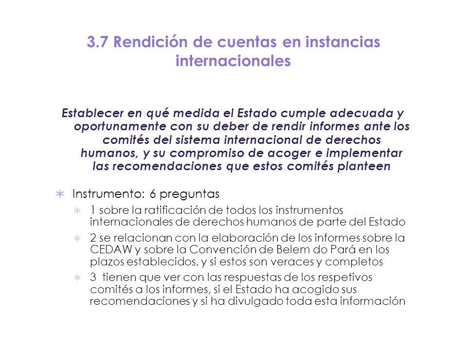 3.7 Rendición de cuentas en instancias internacionales