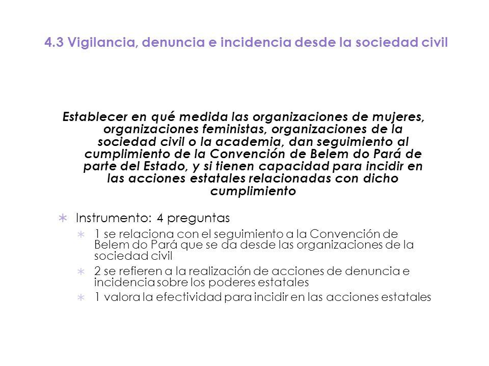 4.3 Vigilancia, denuncia e incidencia desde la sociedad civil