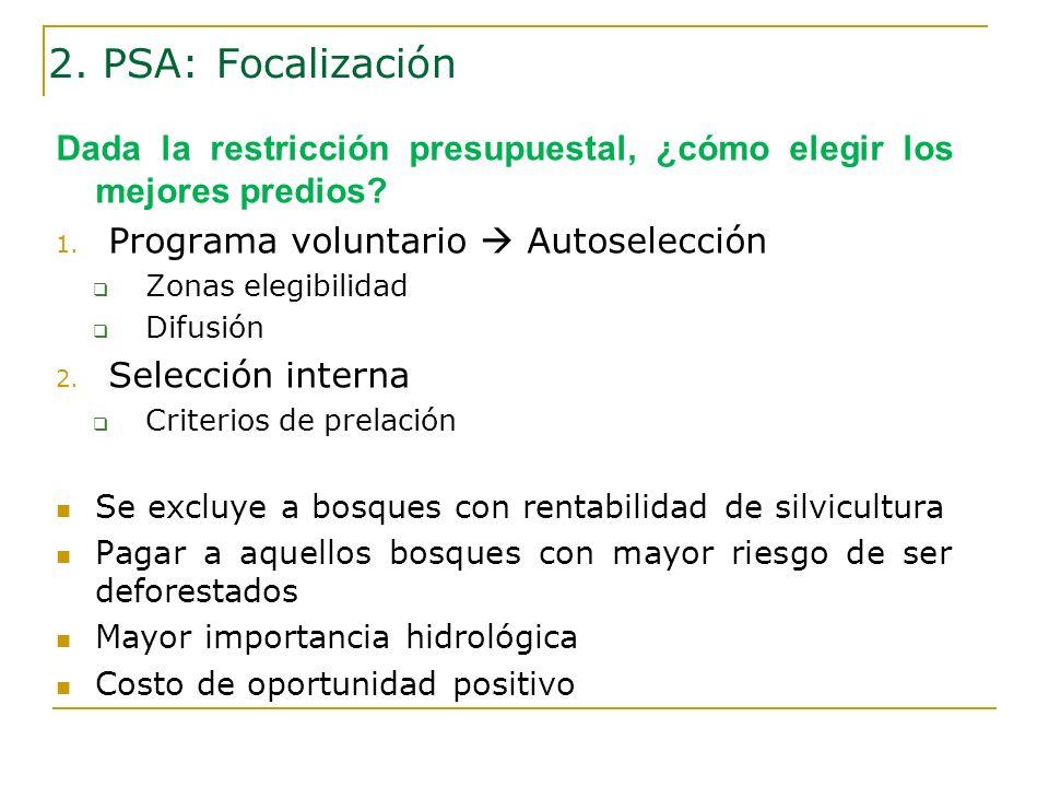2. PSA: Focalización Dada la restricción presupuestal, ¿cómo elegir los mejores predios Programa voluntario  Autoselección.