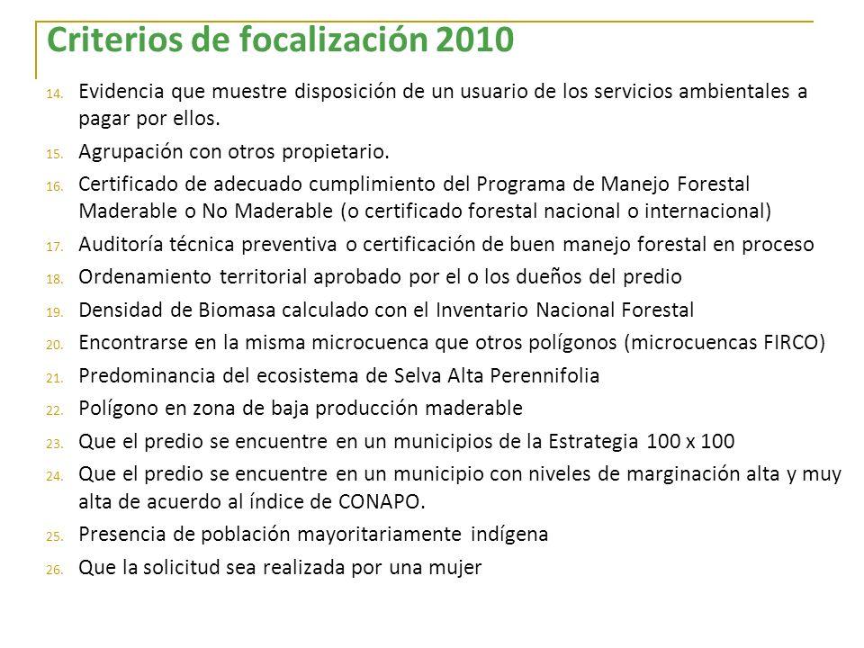 Criterios de focalización 2010