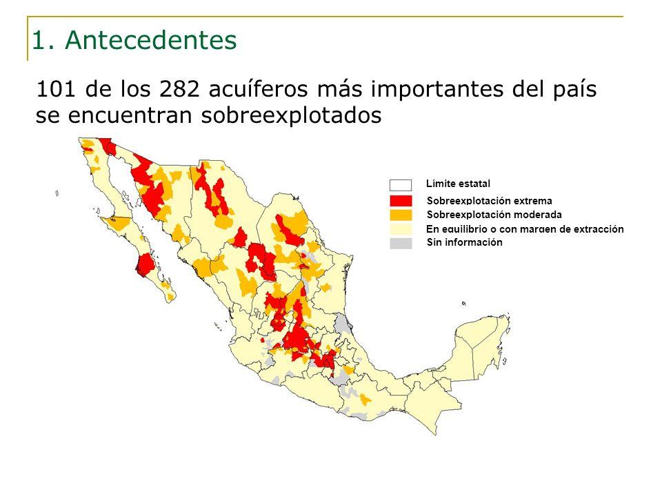 1. Antecedentes 101 de los 282 acuíferos más importantes del país se encuentran sobreexplotados. Límite estatal.