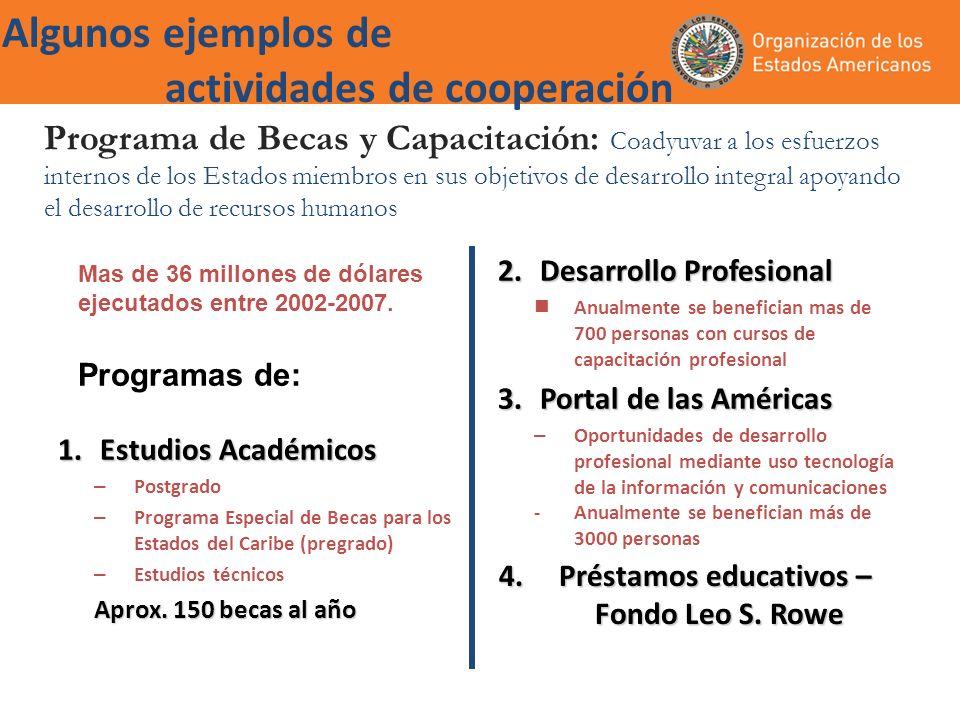 Algunos ejemplos de actividades de cooperación