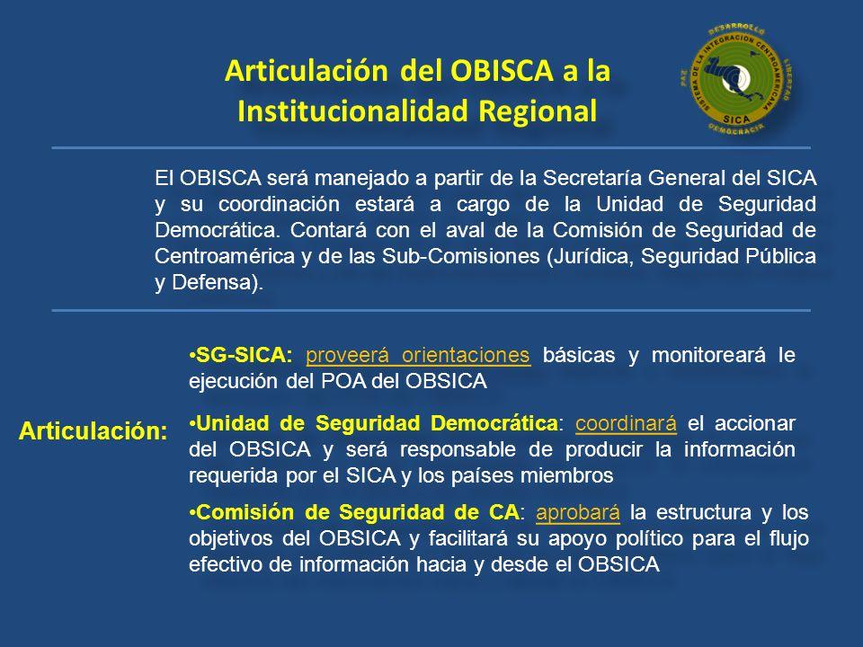 Articulación del OBISCA a la Institucionalidad Regional