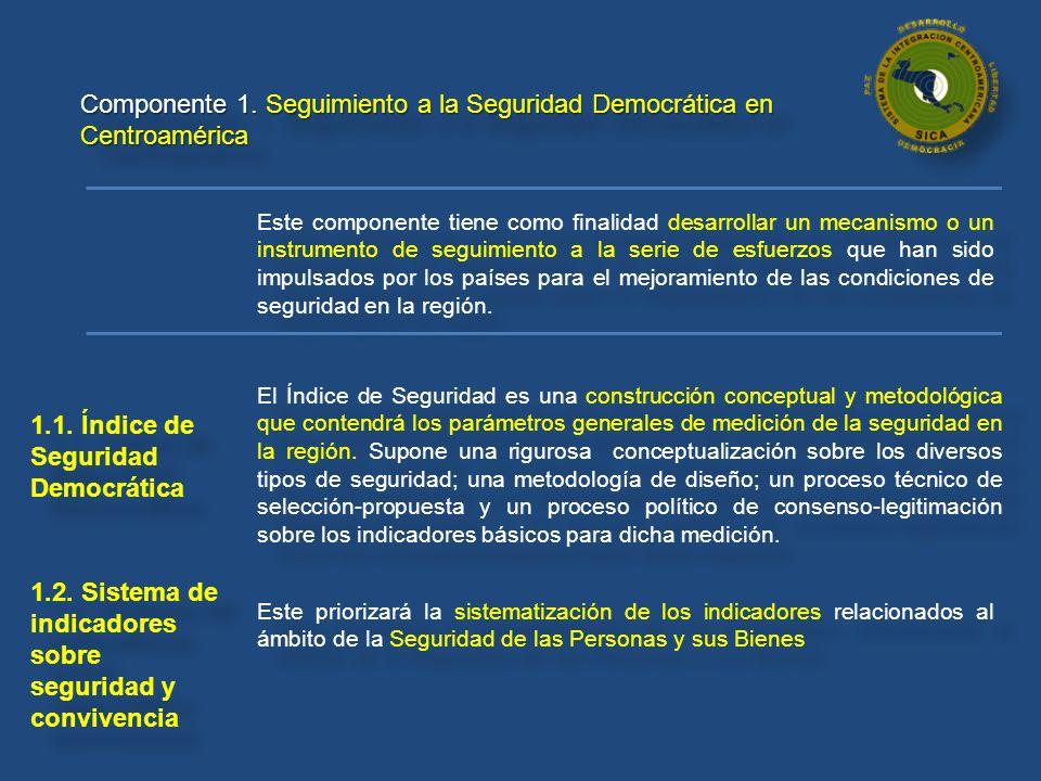 Componente 1. Seguimiento a la Seguridad Democrática en Centroamérica