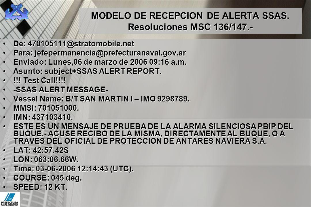 MODELO DE RECEPCION DE ALERTA SSAS. Resoluciones MSC 136/147.-