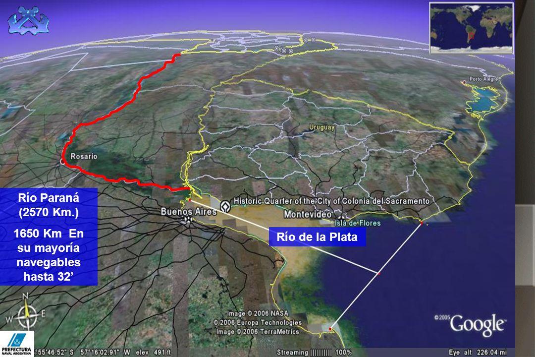 1650 Km En su mayoría navegables hasta 32'