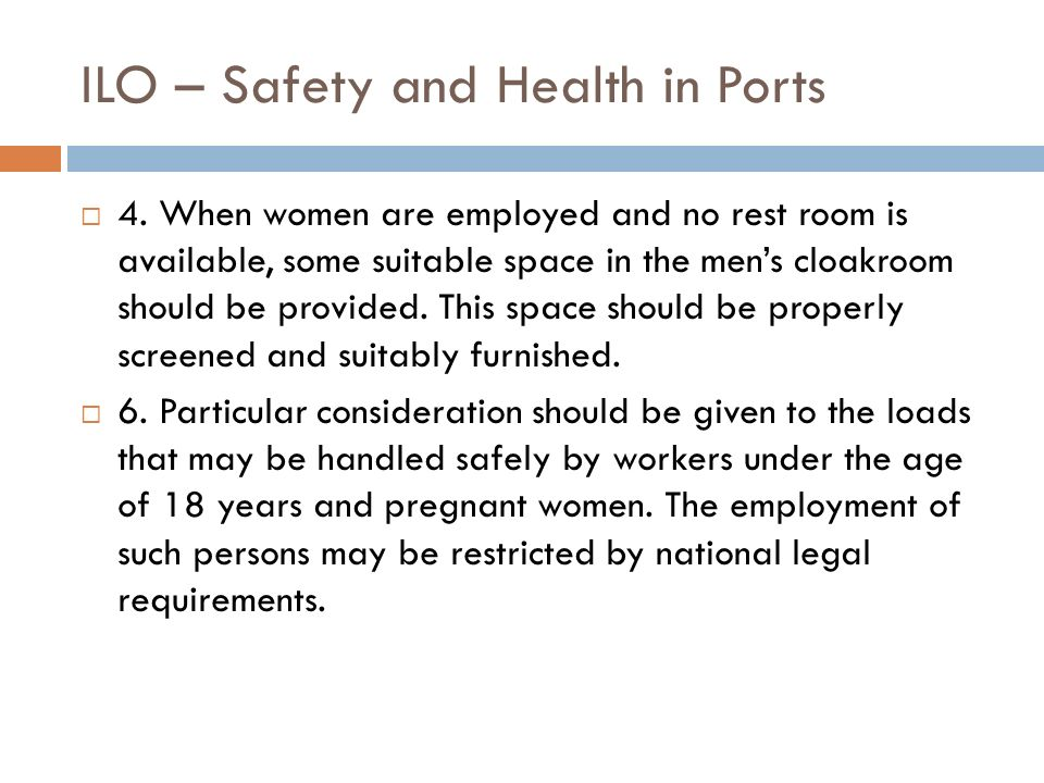 ILO – Safety and Health in Ports