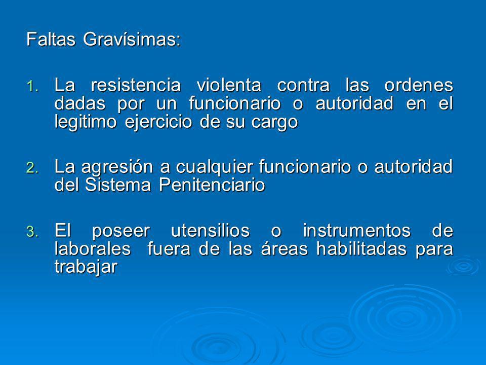 Faltas Gravísimas:La resistencia violenta contra las ordenes dadas por un funcionario o autoridad en el legitimo ejercicio de su cargo.