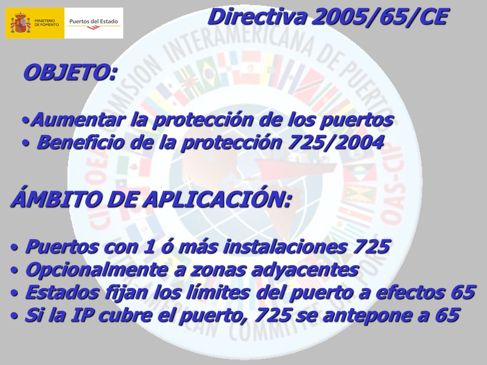 Directiva 2005/65/CE OBJETO: ÁMBITO DE APLICACIÓN: