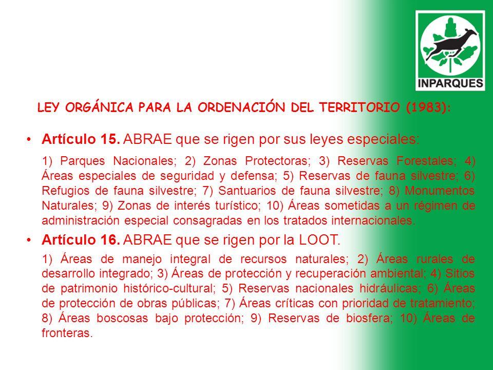 LEY ORGÁNICA PARA LA ORDENACIÓN DEL TERRITORIO (1983):