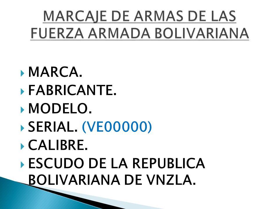 MARCAJE DE ARMAS DE LAS FUERZA ARMADA BOLIVARIANA