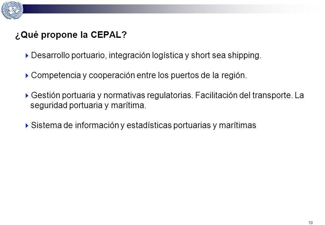 ¿Qué propone la CEPAL Desarrollo portuario, integración logística y short sea shipping. Competencia y cooperación entre los puertos de la región.