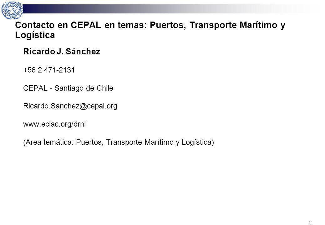 Contacto en CEPAL en temas: Puertos, Transporte Marítimo y Logística