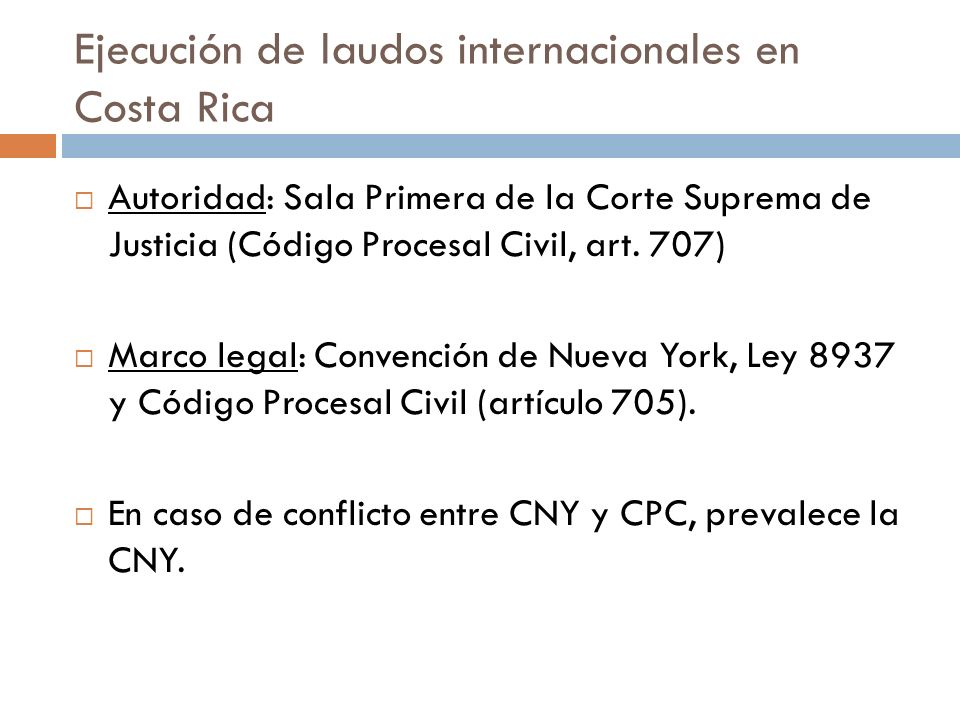 Ejecución de laudos internacionales en Costa Rica