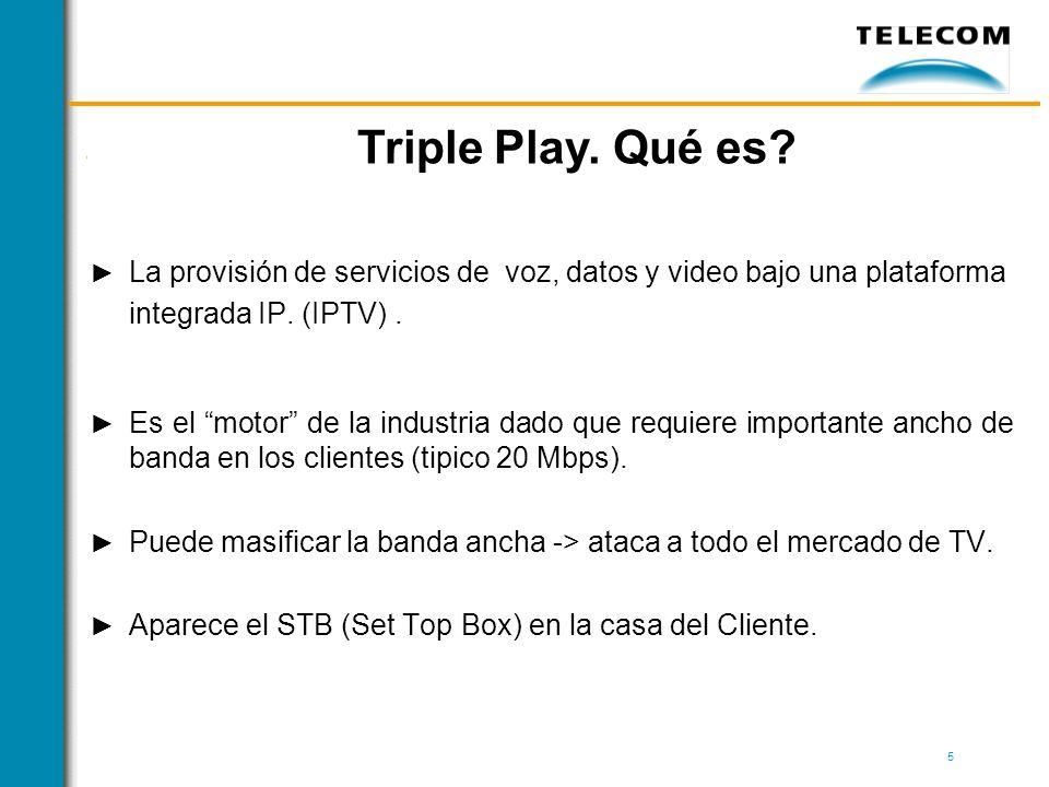 Triple Play. Qué es La provisión de servicios de voz, datos y video bajo una plataforma integrada IP. (IPTV) .