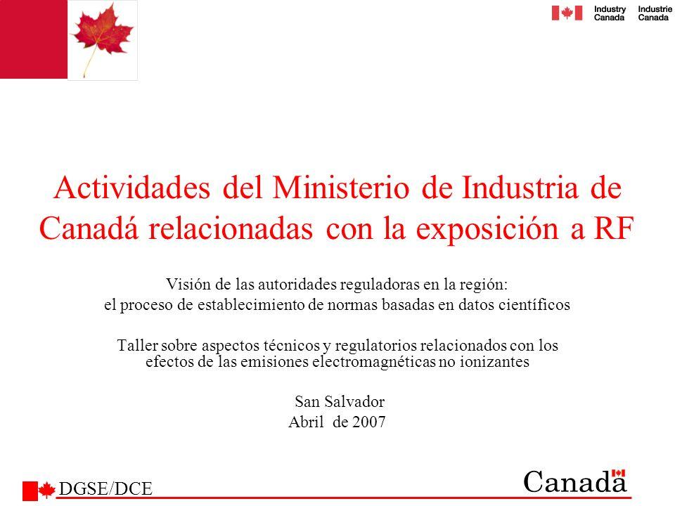 Actividades del Ministerio de Industria de Canadá relacionadas con la exposición a RF