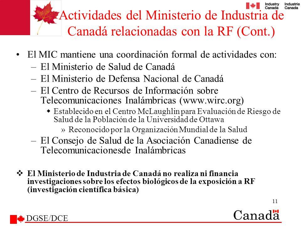 Actividades del Ministerio de Industria de Canadá relacionadas con la RF (Cont.)