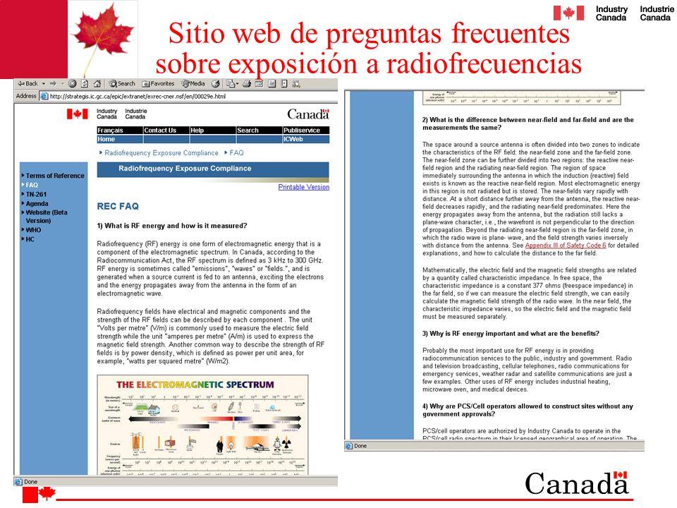 Sitio web de preguntas frecuentes sobre exposición a radiofrecuencias