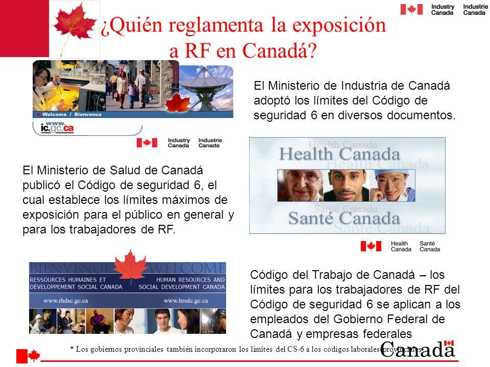 ¿Quién reglamenta la exposición a RF en Canadá