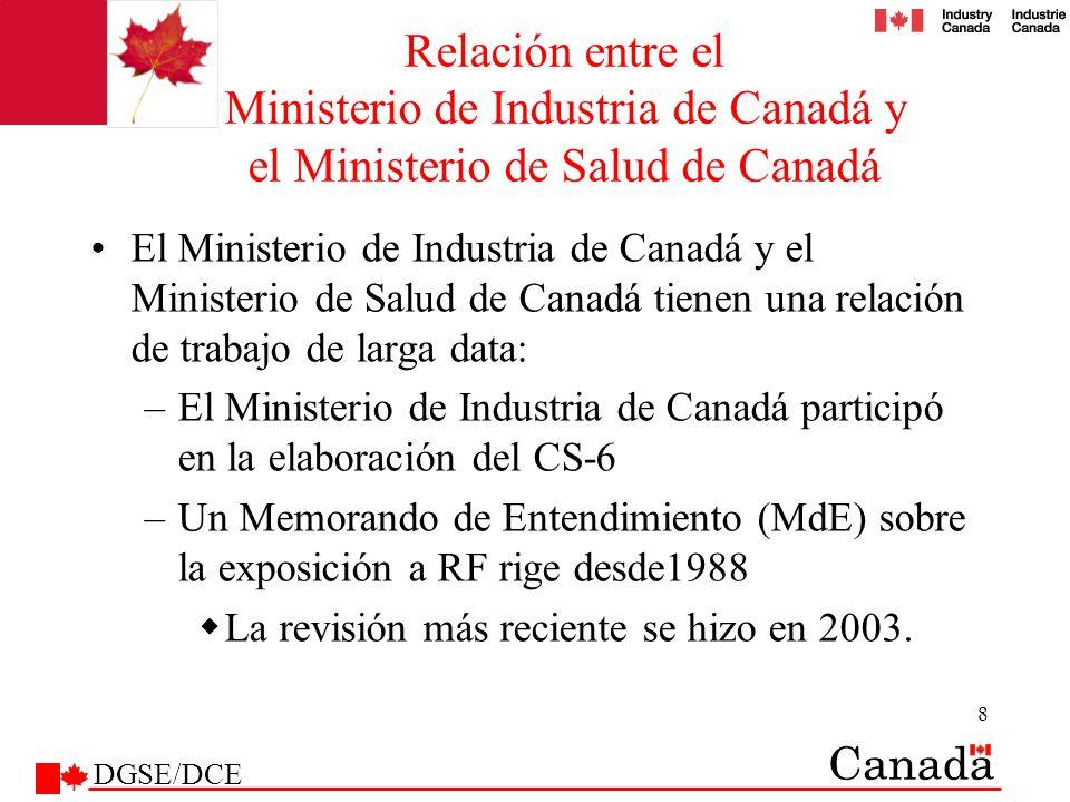 Relación entre el Ministerio de Industria de Canadá y el Ministerio de Salud de Canadá